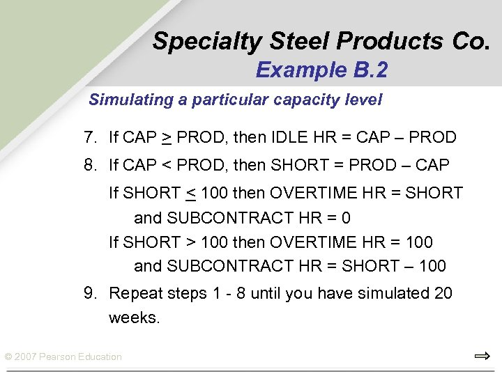 Specialty Steel Products Co. Example B. 2 Simulating a particular capacity level 7. If