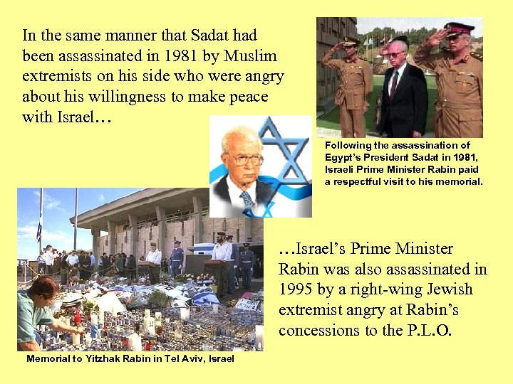 In the same manner that Sadat had been assassinated in 1981 by Muslim extremists