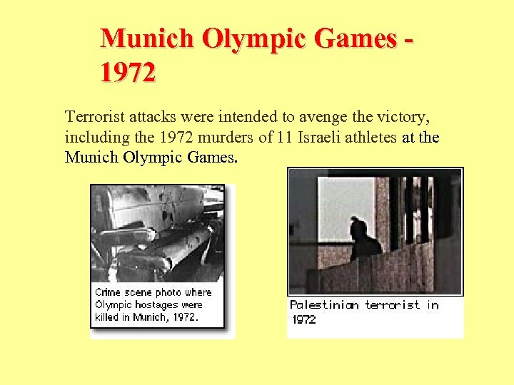 Munich Olympic Games 1972 Terrorist attacks were intended to avenge the victory, including the