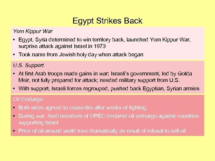 Egypt Strikes Back Yom Kippur War • Egypt, Syria determined to win territory back,