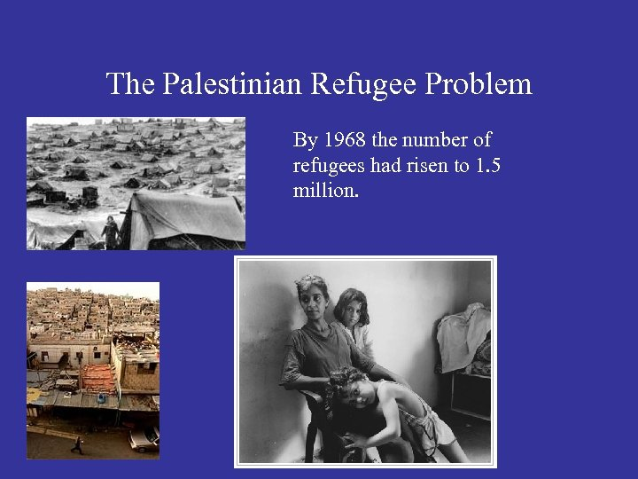 The Palestinian Refugee Problem By 1968 the number of refugees had risen to 1.