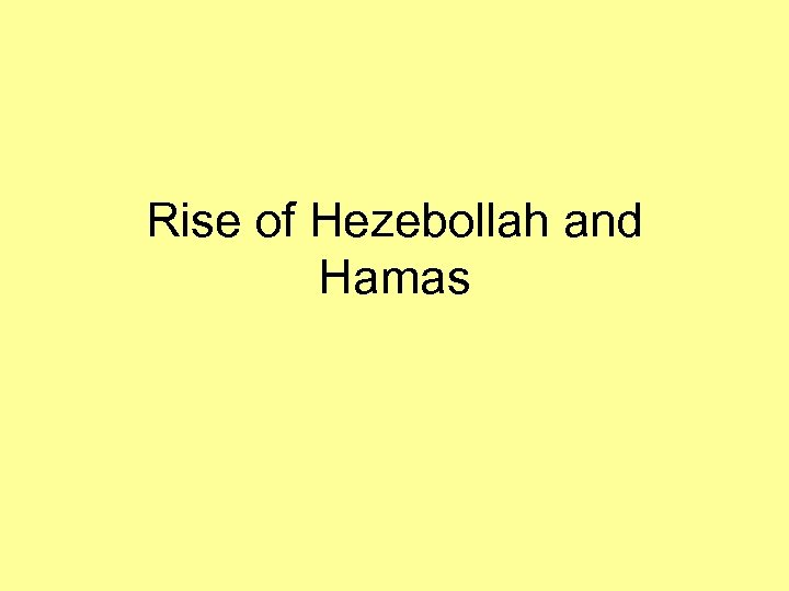 Rise of Hezebollah and Hamas