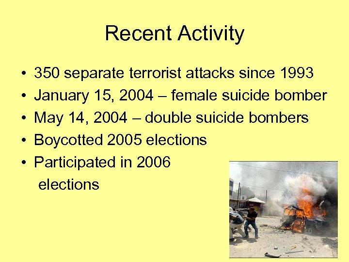 Recent Activity • 350 separate terrorist attacks since 1993 • January 15, 2004 –