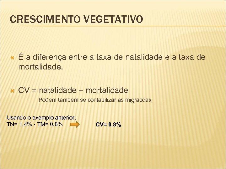 CRESCIMENTO VEGETATIVO É a diferença entre a taxa de natalidade e a taxa de
