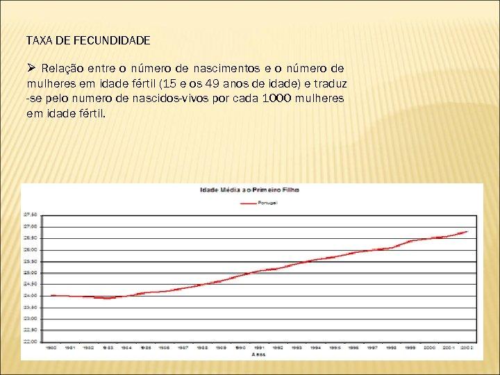 TAXA DE FECUNDIDADE Ø Relação entre o número de nascimentos e o número de