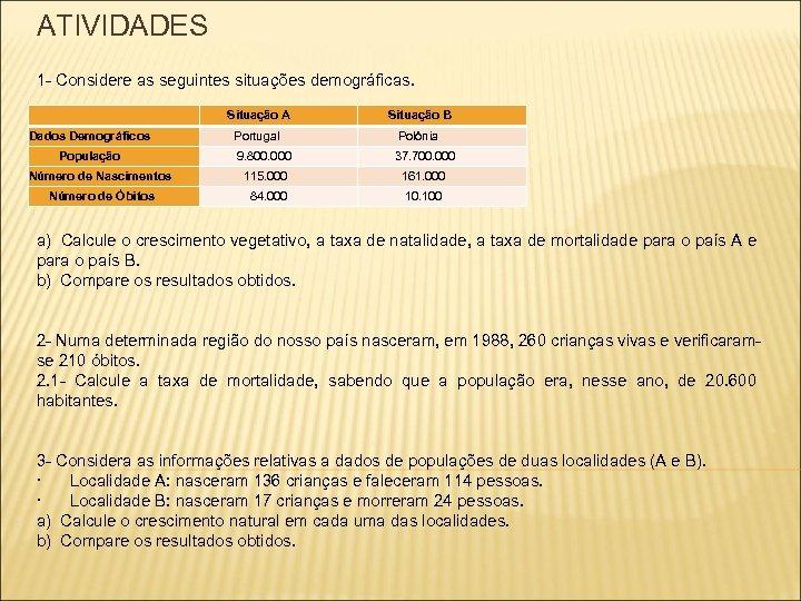ATIVIDADES 1 - Considere as seguintes situações demográficas. Situação A Situação B Dados Demográficos