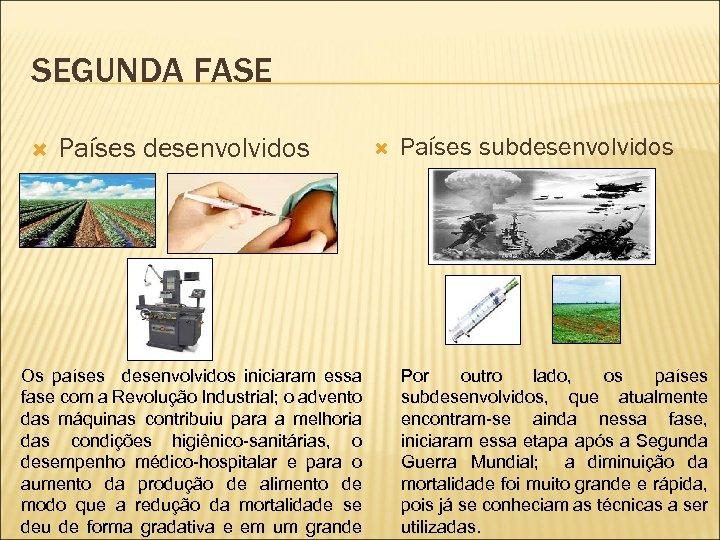 SEGUNDA FASE Países desenvolvidos Os países desenvolvidos iniciaram essa fase com a Revolução Industrial;