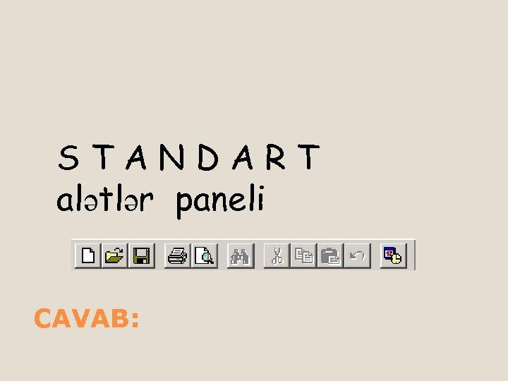 STANDART alətlər paneli CAVAB: