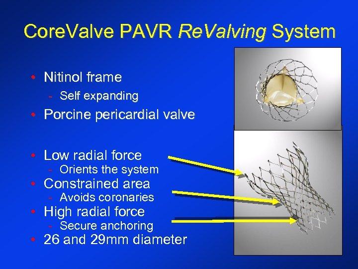 Core. Valve PAVR Re. Valving System • Nitinol frame - Self expanding • Porcine