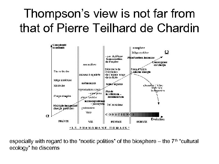 Thompson's view is not far from that of Pierre Teilhard de Chardin especially with
