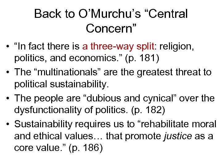 """Back to O'Murchu's """"Central Concern"""" • """"In fact there is a three-way split: religion,"""