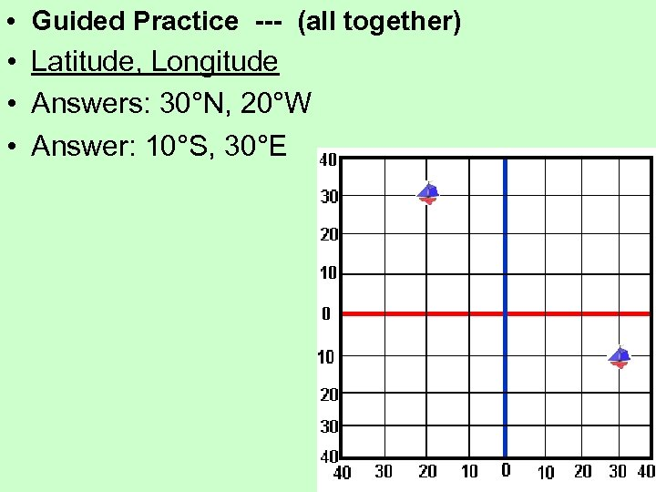 • Guided Practice --- (all together) • Latitude, Longitude • Answers: 30°N, 20°W