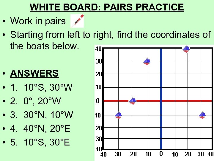 WHITE BOARD: PAIRS PRACTICE • Work in pairs • Starting from left to right,