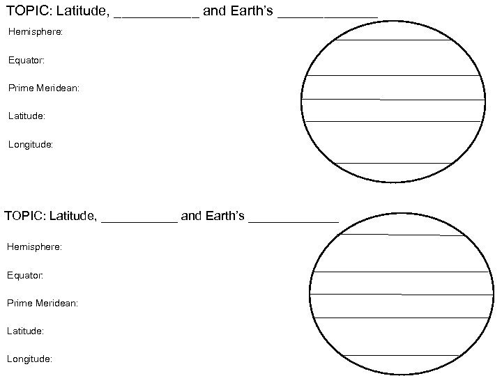 TOPIC: Latitude, ___________ and Earth's _____________ Hemisphere: Equator: Prime Meridean: Latitude: Longitude: