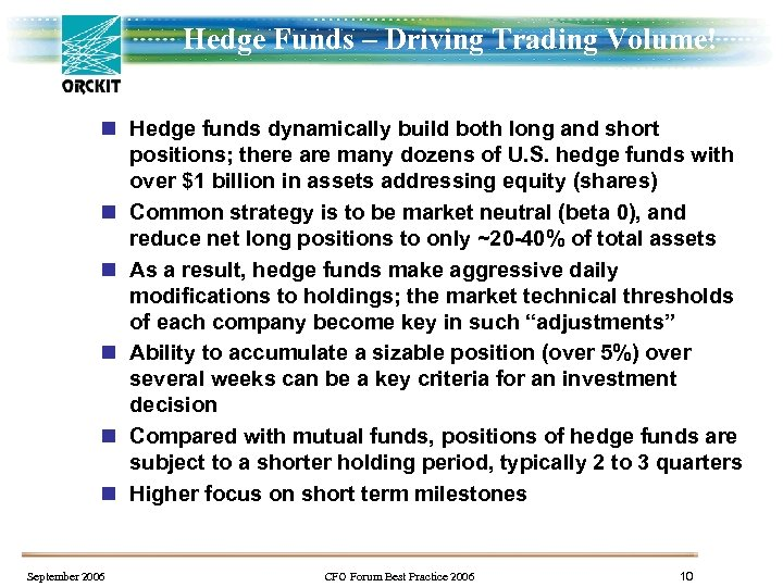 Hedge Funds – Driving Trading Volume! n Hedge funds dynamically build both long and