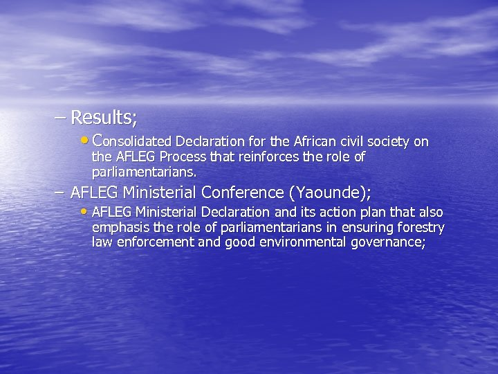 – Results; • Consolidated Declaration for the African civil society on the AFLEG Process