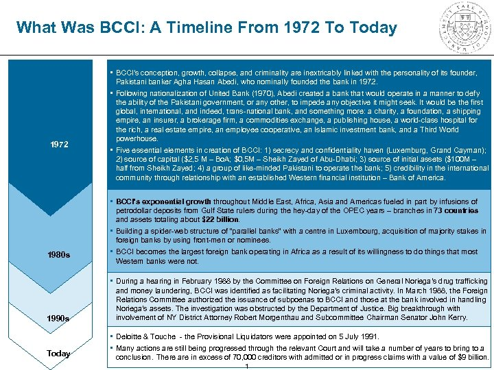 What Was BCCI: A Timeline From 1972 To Today 1972 1980 s • BCCI's