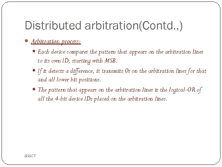 Distributed arbitration(Contd. , ) Arbitration process: Each device compares the pattern that appears on