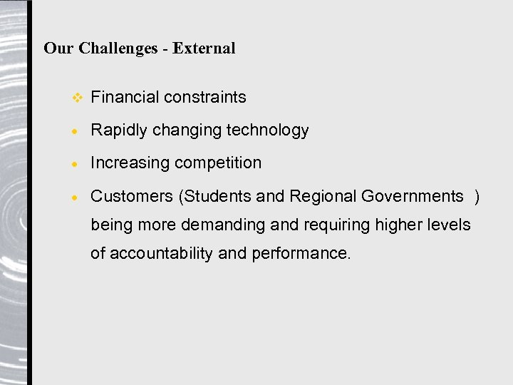 Our Challenges - External v Financial constraints · Rapidly changing technology · Increasing competition
