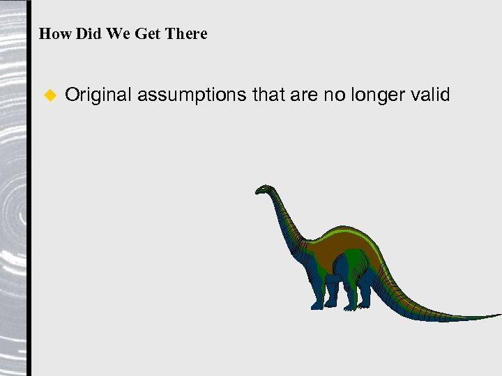 How Did We Get There u Original assumptions that are no longer valid