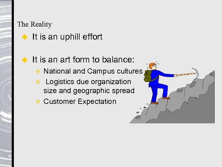 The Reality u It is an uphill effort u It is an art form