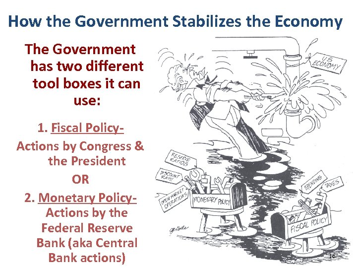 How the Government Stabilizes the Economy The Government has two different tool boxes it