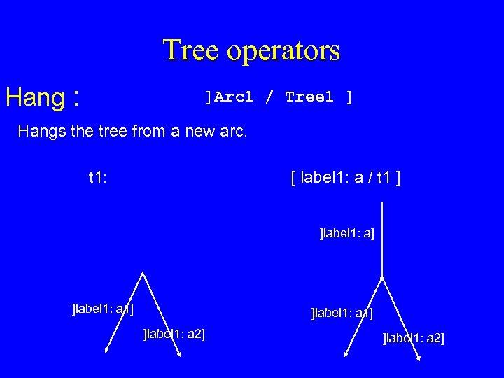 Tree operators Hang : ]Arc 1 / Tree 1 ] Hangs the tree from