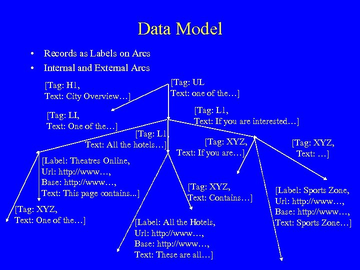 Data Model • Records as Labels on Arcs • Internal and External Arcs [Tag: