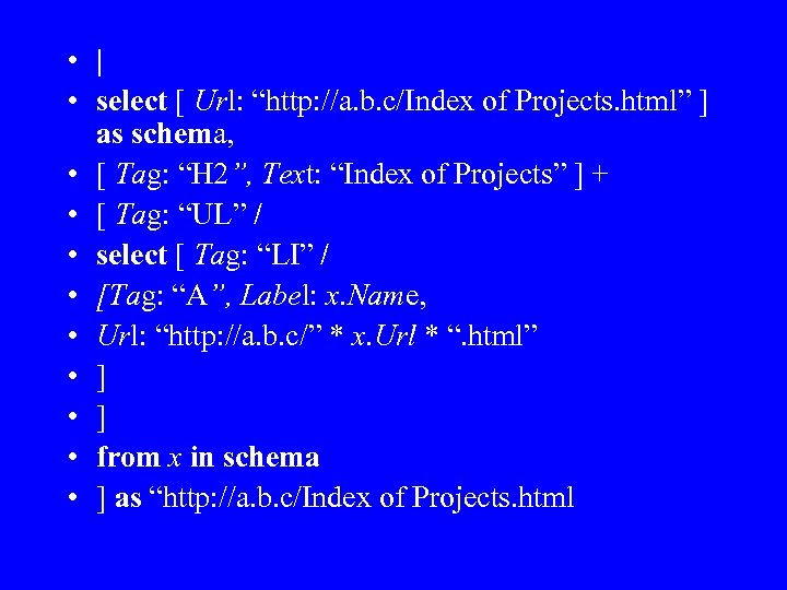 """•   • select [ Url: """"http: //a. b. c/Index of Projects. html"""""""