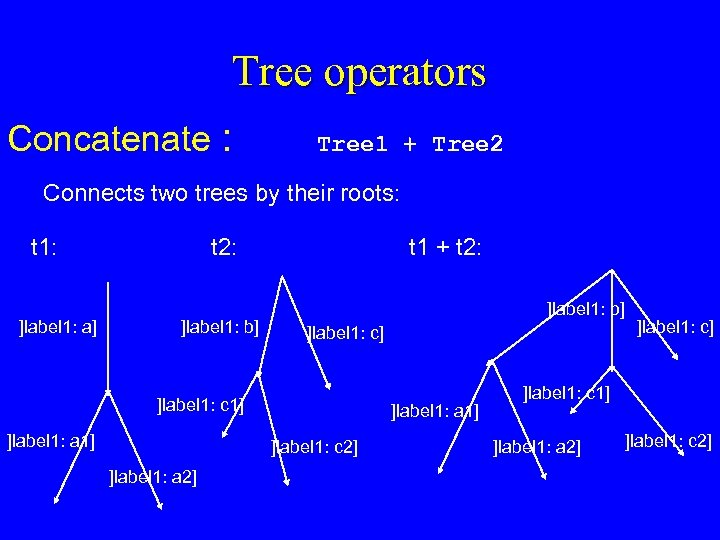 Tree operators Concatenate : Tree 1 + Tree 2 Connects two trees by their