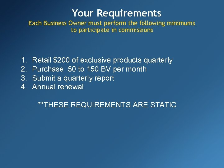 Your Requirements Each Business Owner must perform the following minimums to participate in commissions