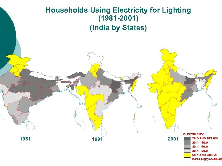 Households Using Electricity for Lighting (1981 -2001) (India by States) 1981 1991 2001 20