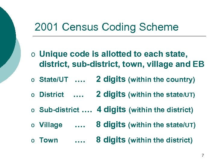 2001 Census Coding Scheme o Unique code is allotted to each state, district, sub-district,