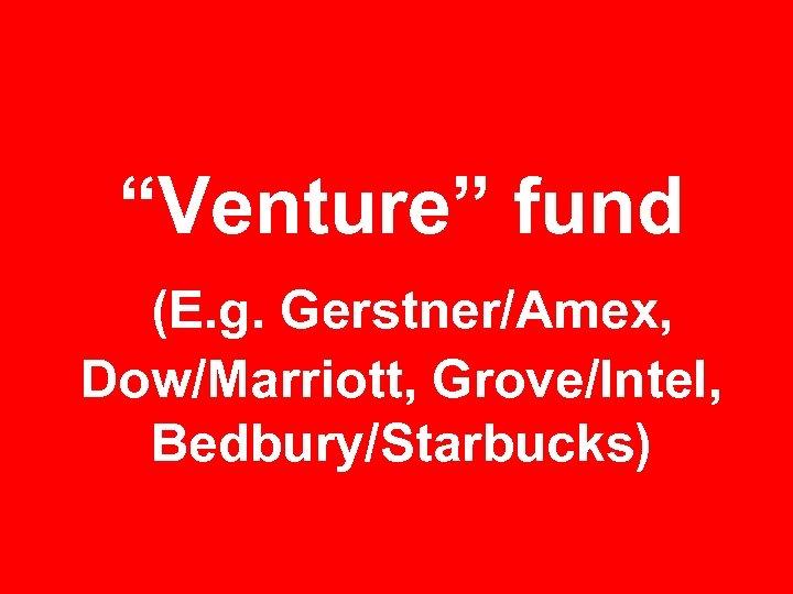 """Venture"" fund (E. g. Gerstner/Amex, Dow/Marriott, Grove/Intel, Bedbury/Starbucks)"