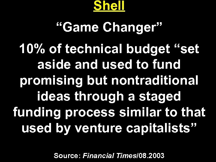 """Shell """"Game Changer"""" 10% of technical budget """"set aside and used to fund promising"""