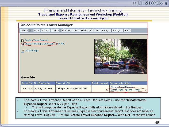 Financial and Information Technology Training Travel and Expense Reimbursement Workshop (Web. Gui) Lesson 5: