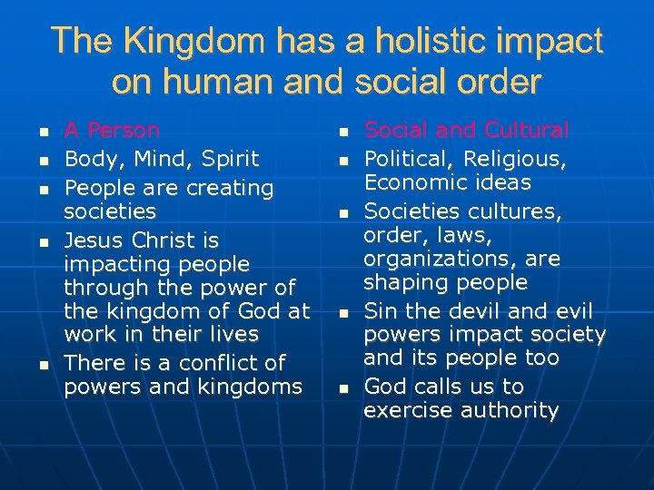 The Kingdom has a holistic impact on human and social order A Person Body,