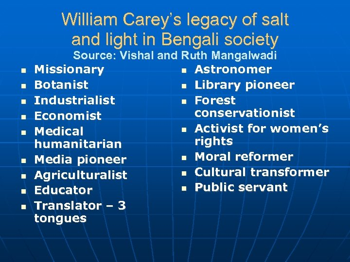 William Carey's legacy of salt and light in Bengali society Source: Vishal and Ruth