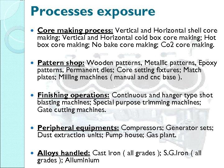 Processes exposure Core making process: Vertical and Horizontal shell core making; Vertical and Horizontal