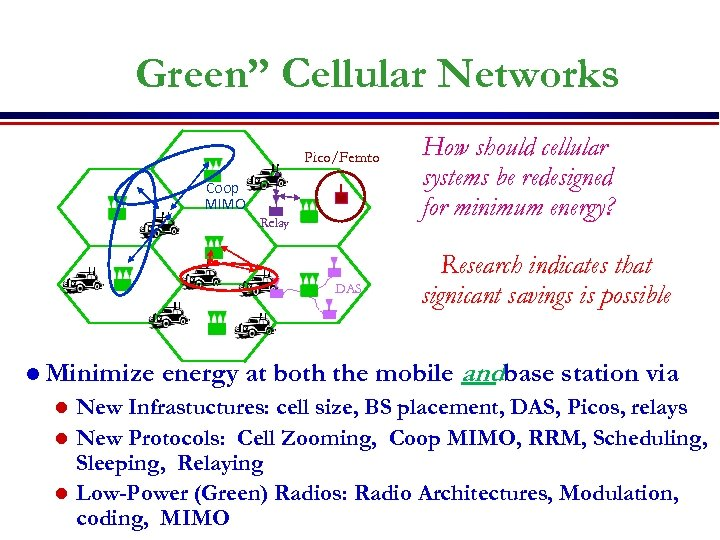 "Green"" Cellular Networks Pico/Femto Coop MIMO Relay DAS l Minimize How should cellular systems"