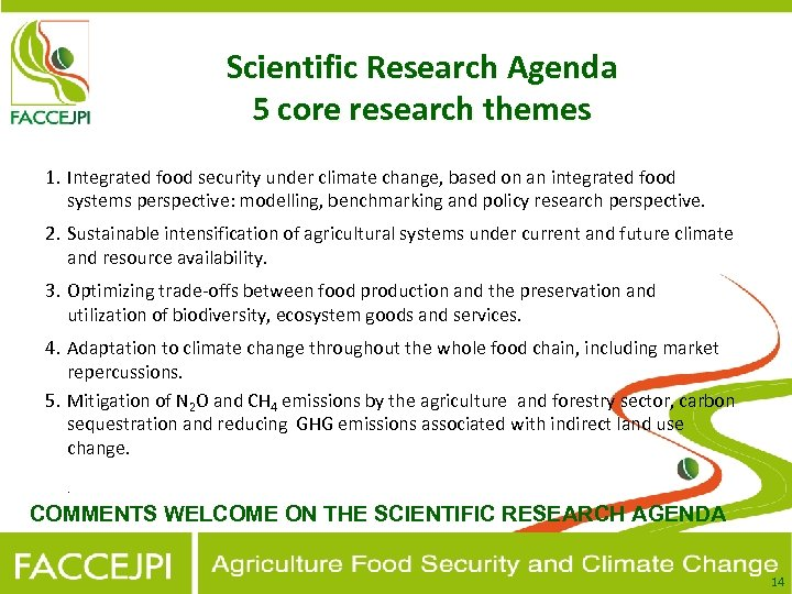 Scientific Research Agenda 5 core research themes 1. Integrated food security under climate change,