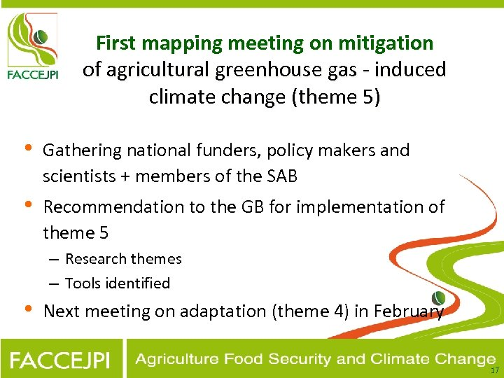 First mapping meeting on mitigation of agricultural greenhouse gas - induced climate change (theme