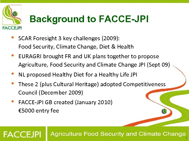 Background to FACCE-JPI • SCAR Foresight 3 key challenges (2009): Food Security, Climate Change,