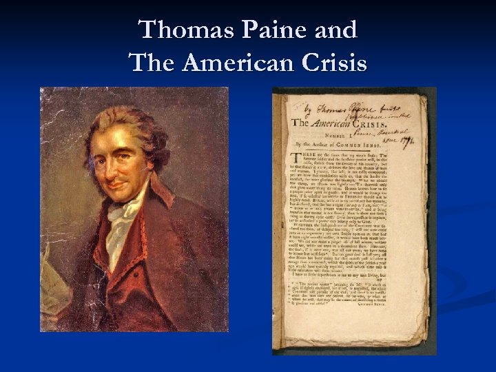 Thomas Paine and The American Crisis
