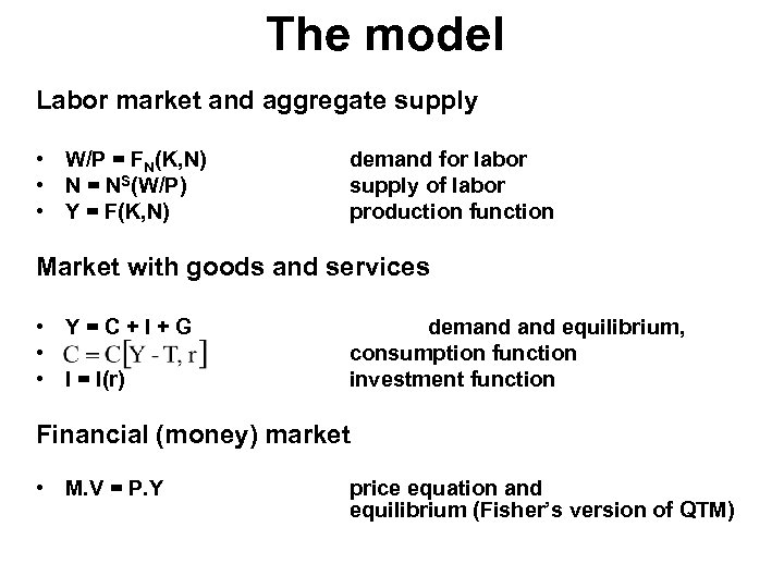 The model Labor market and aggregate supply • W/P = FN(K, N) • N