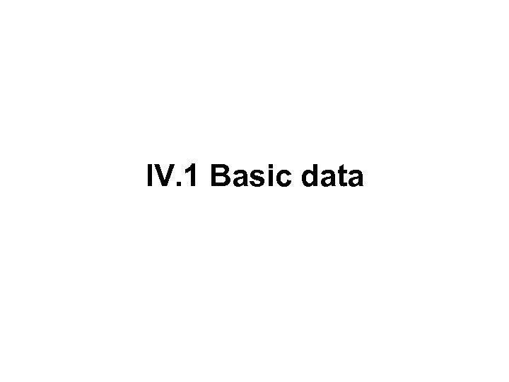 IV. 1 Basic data