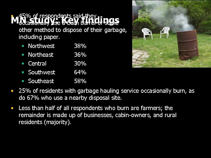 • 45% of respondents said they MN study: Key barrel or some occasionally