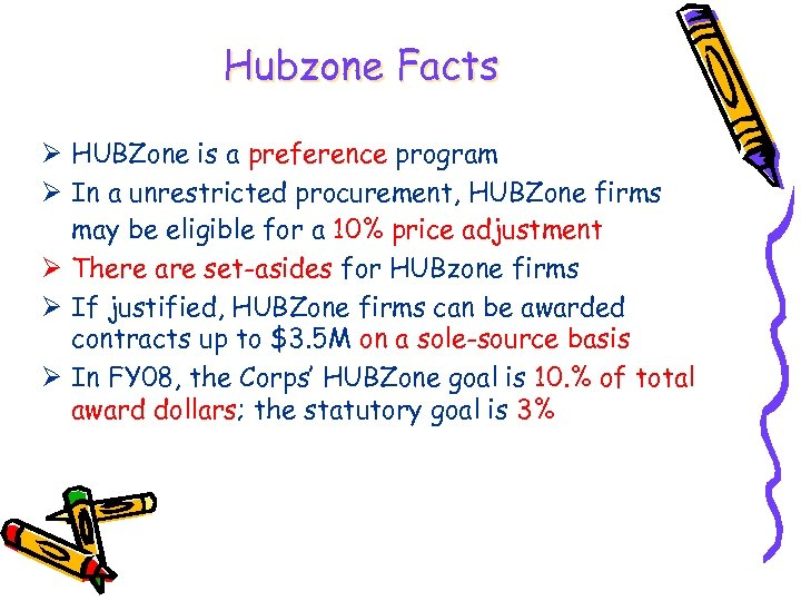 Hubzone Facts Ø HUBZone is a preference program Ø In a unrestricted procurement, HUBZone