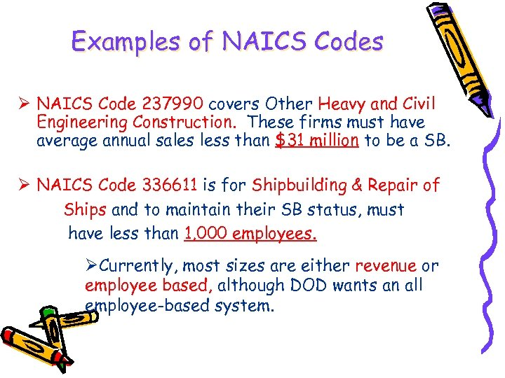 Examples of NAICS Codes Ø NAICS Code 237990 covers Other Heavy and Civil Engineering