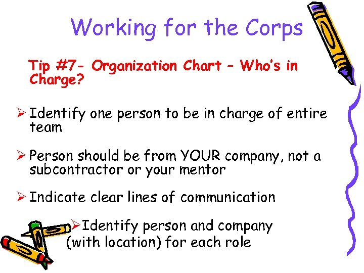 Working for the Corps Tip #7 - Organization Chart – Who's in Charge? Ø